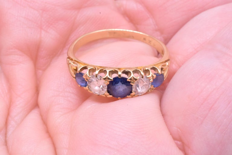 Antique Sapphire Diamond Gold Five-Stone Ring For Sale 4