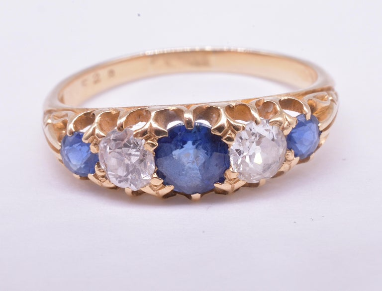 Antique Sapphire Diamond Gold Five-Stone Ring For Sale 5