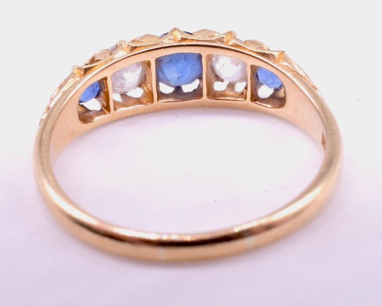 Antique Sapphire Diamond Gold Five-Stone Ring For Sale 7