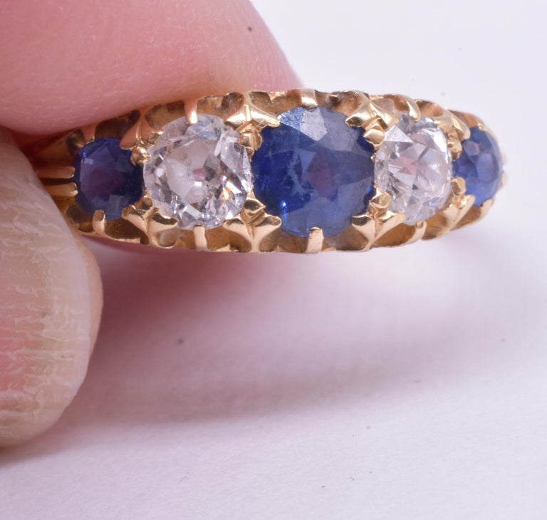 Antique Sapphire Diamond Gold Five-Stone Ring For Sale 8