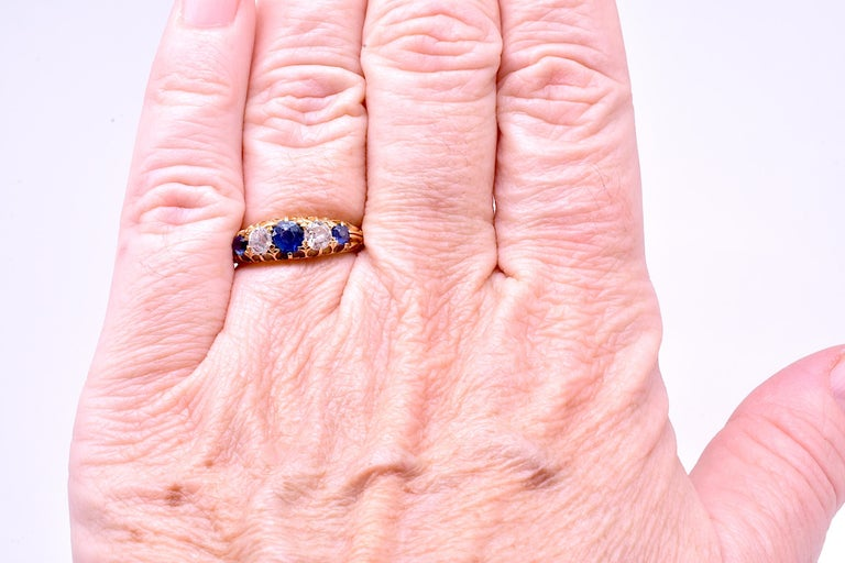 Antique Sapphire Diamond Gold Five-Stone Ring For Sale 9