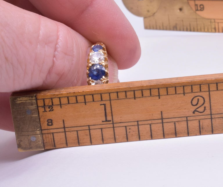 Antique Sapphire Diamond Gold Five-Stone Ring For Sale 10