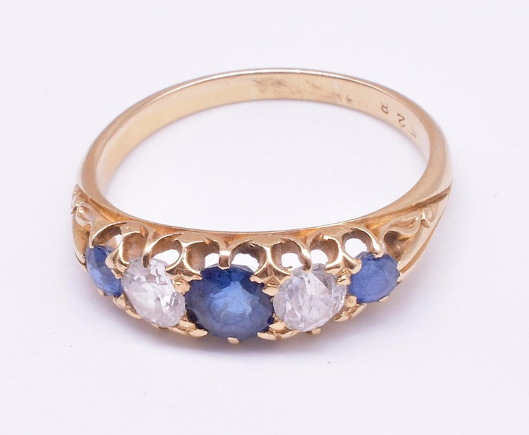 Antique Sapphire Diamond Gold Five-Stone Ring For Sale 3