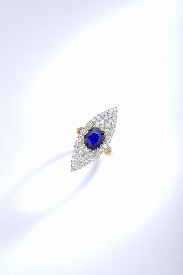 Victorian Antique Sapphire Diamond Platinum Gold Ring For Sale