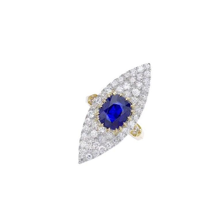 Antique Sapphire Diamond Platinum Gold Ring For Sale