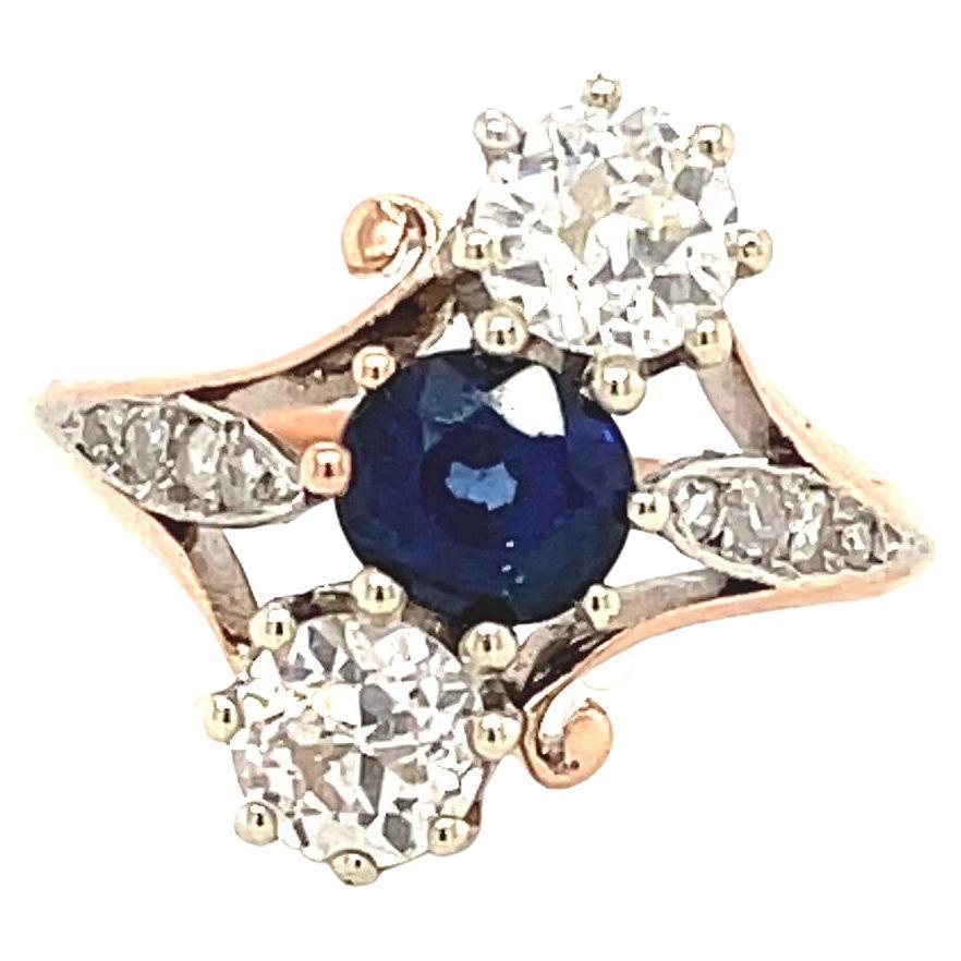 Antique Sapphire Diamond Platinum Rose Gold Ring