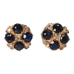 Antique Sapphire Diamond Platinum Stud Earrings