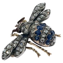 Antique Sapphire Diamond Ruby Bee Brooch