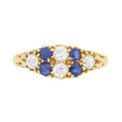 Antique Sapphire Diamond Yellow Gold Cluster Ring, circa 1920s