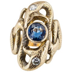 Antique Sapphire Diamond Yellow Gold Double Snake Ring