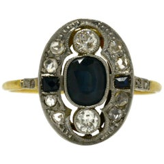 Antique Sapphire Engagement Ring Edwardian Diamond 1900s 18 Karat Gold Platinum
