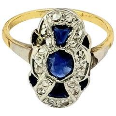 Antique Sapphire Gold Plaque Ring