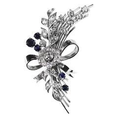 Sapphire and Old European Diamond Flower Bouquet Spray Brooch in Platinum