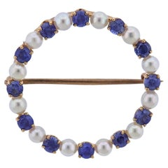 Antique Sapphire Pearl Gold Open Circle Brooch