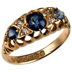 Antique Sapphire Rose Diamond Boat Ring Hallmarked 18 Karat Gold, Chester, 1911