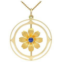 Antique Sapphire Yellow Gold Pendant
