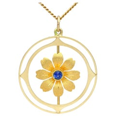 Antique Sapphire Yellow Gold Pendant
