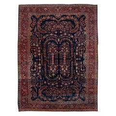 Antique Sarouk Farahan Blue Persian Handmade Wool Rug