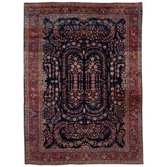 """Antique Sarouk Farahan Blue Persian Wool Rug.9'2""""x12'"""