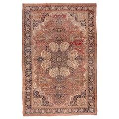 Antique Sarouk Farahan Carpet, Navy Center Medallion, circa 1900s
