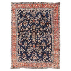 Antique Sarouk Farahan Rug with All-Over Floral Pattern in Navy and Orangy-Red