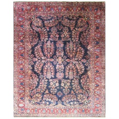 Antique Sarouk Mohajeran Carpet, Blue