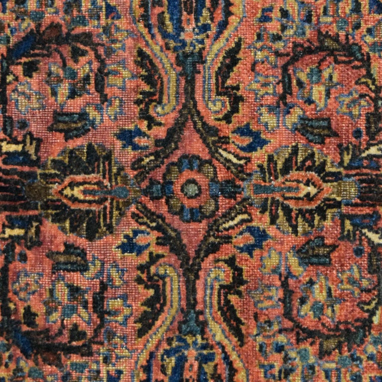 Vegetable Dyed Antique Sarouk Persian Carpet in Red, Blue, and Cream Wool For Sale
