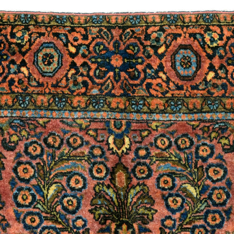 Antique Sarouk Persian Carpet in Red, Blue, and Cream Wool In Fair Condition For Sale In New York, NY