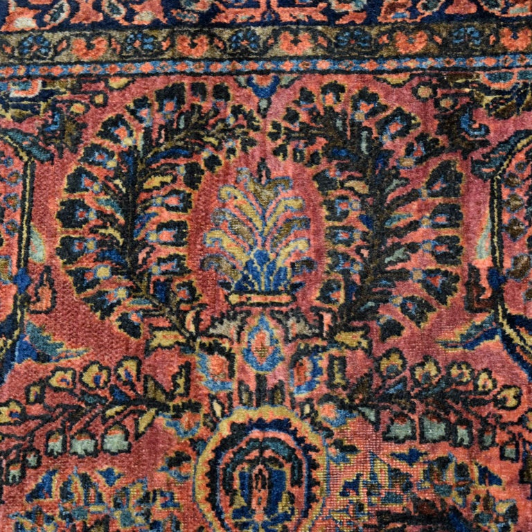 Early 20th Century Antique Sarouk Persian Carpet in Red, Blue, and Cream Wool For Sale