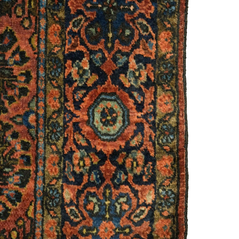 Antique Sarouk Persian Carpet in Red, Blue, and Cream Wool For Sale 2