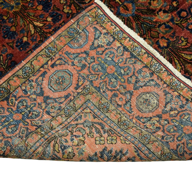 Antique Sarouk Persian Carpet in Red, Blue, and Cream Wool For Sale 4
