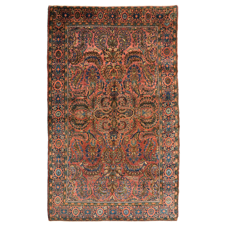 Antique Sarouk Persian Carpet in Red, Blue, and Cream Wool