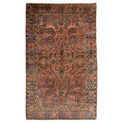 Antique Sarouk Persian Carpet in Red, Blue, and Cream Wool