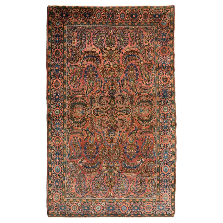 Antique Sarouk Persian Carpet in Red, Blue, and Cream Wool For Sale
