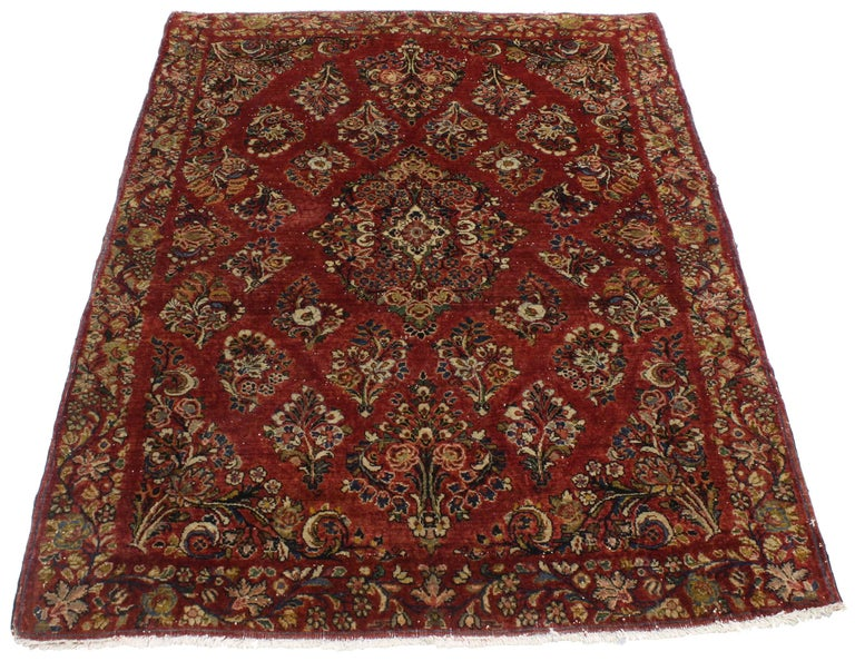 Sarouk Farahan Antique Sarouk Persian Rug with Old World Victorian Style For Sale