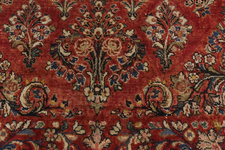 Hand-Knotted Antique Sarouk Persian Rug with Old World Victorian Style For Sale