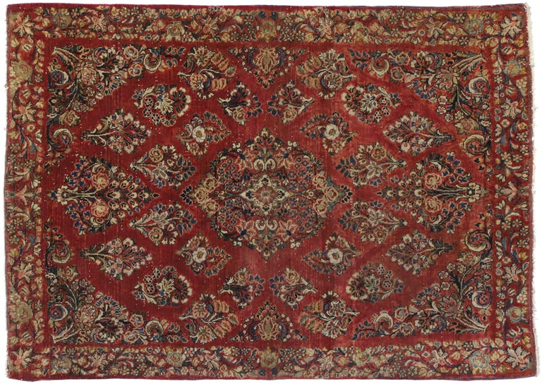 Antique Sarouk Persian Rug with Old World Victorian Style For Sale 2