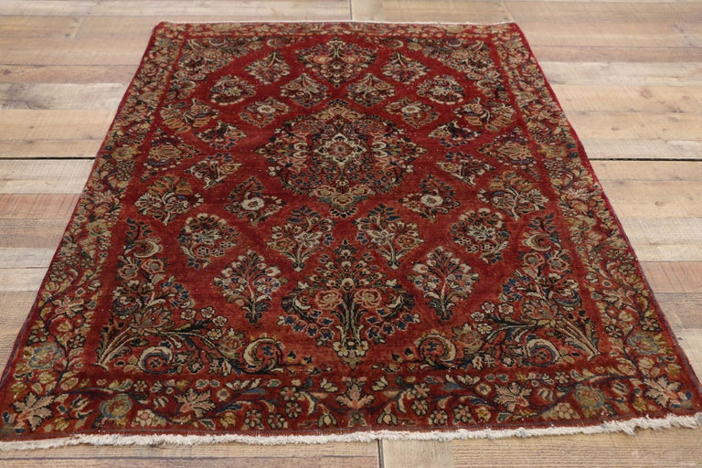 Wool Antique Sarouk Persian Rug with Old World Victorian Style For Sale