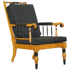 Antique Satin Birch Wood Swedish Biedermeier Library Reading Armchair Ebonished