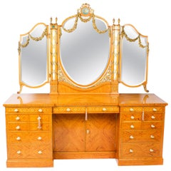 Antique Satinwood and Marquetry Dressing Table Waring and Gillow, 19th Century