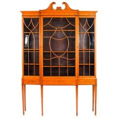 Antique Satinwood Breakfront Bookcase Display Cabinet Edwards & Roberts 19th C