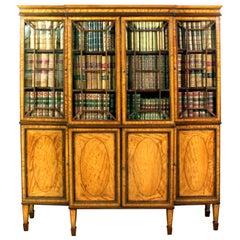 George III Satinwood Breakfront Bookcase