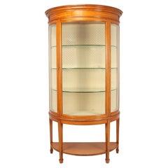 Antique Satinwood Demi Lune Display Cabinet c1900