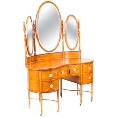 Antique Satinwood Kidney Dressing Table Attributed to Maple & Co, 19th Century