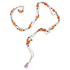 """Victorian Necklace Amethyst and Amber 59"""" Sautoir"""