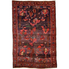Antique Saveh Persian Carpet in Pure Wool and Vegetable Dyes, circa 1910