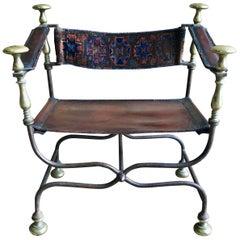 Antique Savonarola Chair, Iron and Brass