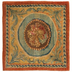 Antique Savonnerie Beige and Blue Wool Rug