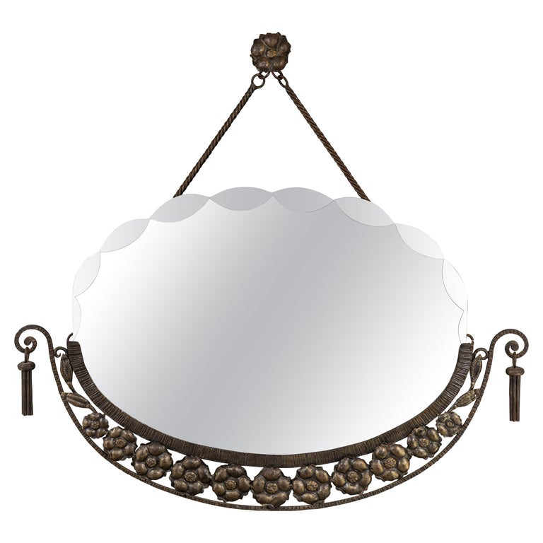 Antique Scalloped Bevel Frameless Oval Mirror For Sale