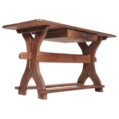 Antique Scandinavian Baroque Table in Patinated Solid Oak, 18th Century